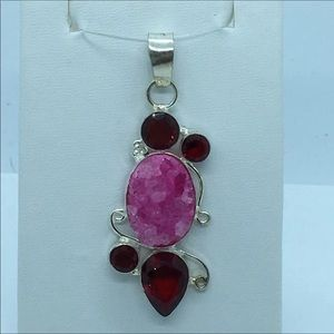Jewelry - Garnet & Natural Druzy Pendant